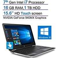 HP Pavilion Touchscreen HD 15.6 Laptop, 7th Gen Intel Core i7-7500U 2.7GHz, 16GB RAM, 1TB HDD, NVIDIA GeForce 940MX Graphics, DVD +/- RW, B&O Play, Backlit Keyboard, Windows 10