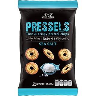 Pressels Baked Pretzel Chips [Sea Salt], Mini Seasoned Pretzels in 3 pack of 7.1 oz, Individual Pretzel Snack Packs, Crunchy Savory Vegan Pretzel Thins
