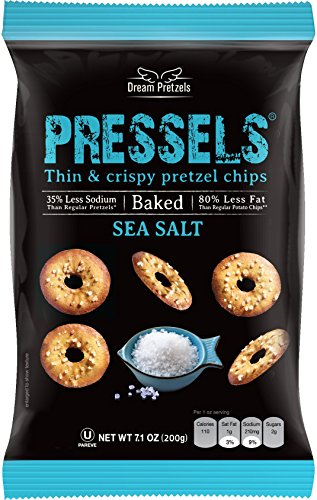 Pressels Baked Pretzel Chips – Non-GMO, Low-Calorie, Vegan, Kosher – Less Fat & Sodium Than Ordinary Chip – Thin, Crispy, Tasty Mini Pretzel Snack Bags by Dream Pretzels, Sea Salt, 7.1 Oz, 3-Pack