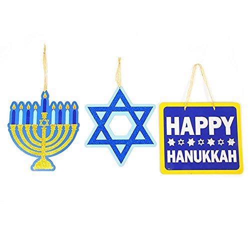 Happy Hanukkah Star (Hanukkah Hanging Decorations with Glitter Accents - Pack of 3 Designs - Menorah, Star of David, Happy Hanukkah - 12