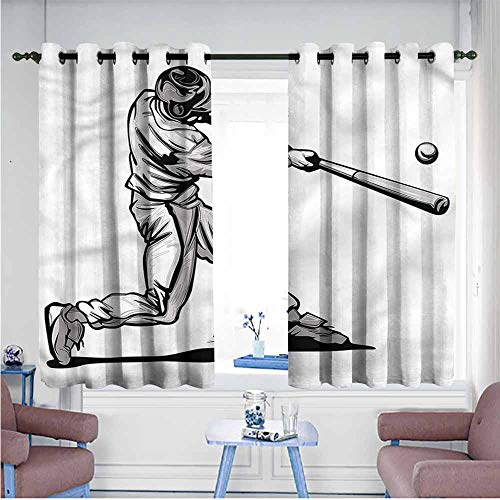 SAMEK Kids Curtains,Boys Room Fast Pitch Baseball,Grommet Curtains for Bedroom,W55x39L