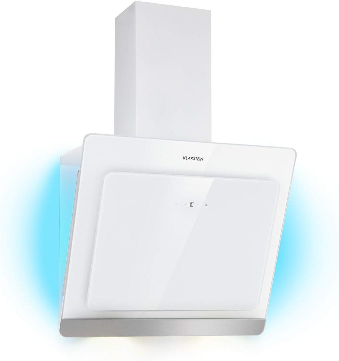 KLARSTEIN Aurora Eco 60 - Campana extractora, 550 m³/h, Bajo Consumo, Eco Excellence, Display LED, Balanced Light Concept, 3 Niveles, Diseño Compacto, Clase fluidodinámica A, Blanco