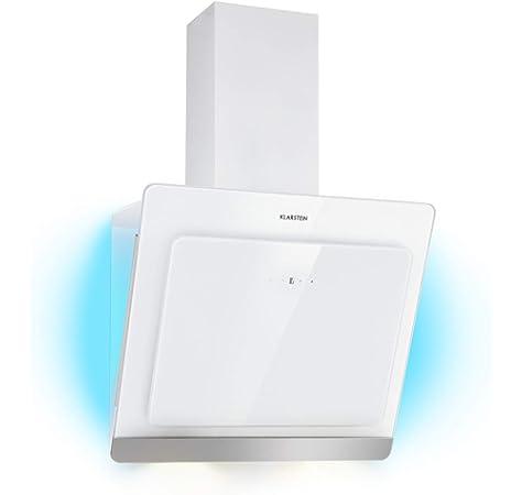 KLARSTEIN Sabia 60 - Campana extractora Inclinada, Extractor de Humos de Pared, Vidrio de Seguridad, Absorción y circulación de Aire, 3 Niveles, 600 m³/h, Iluminación LED, 60 cm de Ancho, Blanco: Amazon.es: Hogar
