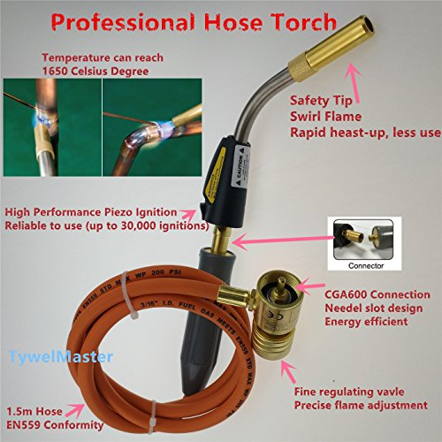Heat Propane Torch (Braze Welding Torch Self Ignition 1.5m hose CGA600 connection suitable for Propane MAPP Catridge Cylinder Gas Welding Torch Heat)