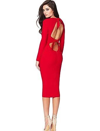 3b1f94669499 Maketina Women Long Sleeve Sexy Tie Up Backless Midi Bodycon Bandage Party Dress  Red XS at Amazon Women's Clothing store: