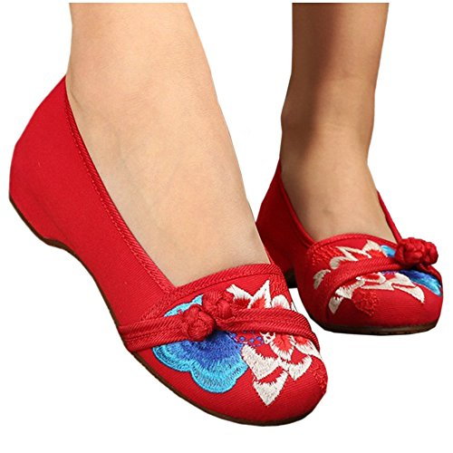 Embroidered red 36 Shoes Cloth Beijing Casual Old vq7Wtw6nUO