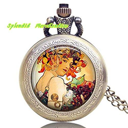 Splendid Merchandise® Autumn Harvest Art Pendant Watch Charm, Alphonse Mucha Jewelry, Art Nouveau Pendant, Autumn Pendant Watch