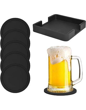 Posavasos de silicona para bebidas, protección antideslizante, juego de 6 con soporte, negro