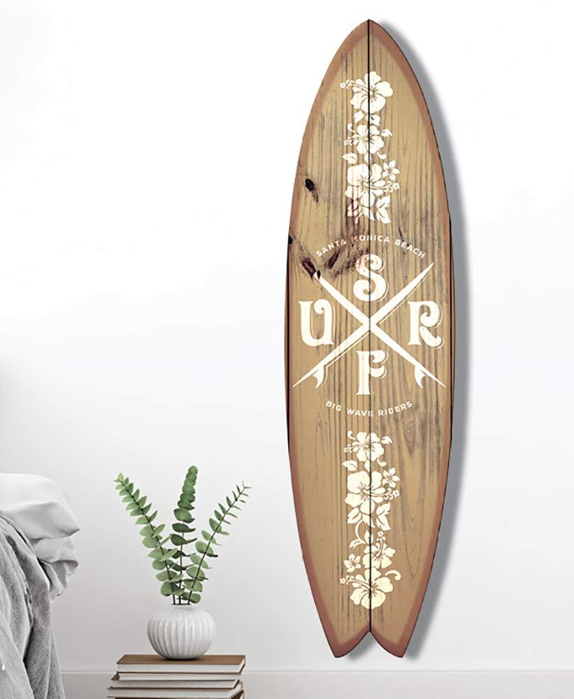 Big Wave 145x40 Cm Tabla de Surf para decoraci/ón de Pared 145x40 Surf California impresi/ón sobre Aluminio Dibond 145 x 40 cm HXA DECO