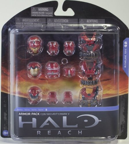Halo Reach McFarlane Toys Series 5 Exclusive RED Armor Pack CQB, Security, Mark (Halo Reach Security Chest)