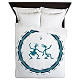 Queen Duvet Cover Primitive Dancing Duo Teal
