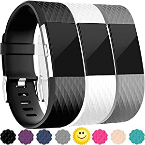 Replacement Bands for Fitbit Charge 2, 3-Pack Fitbit Charge2 Wristbands, Small, Black, Gray, White