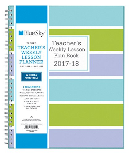 Blue Sky 102021 2017-2018 Academic Year Teachers Plan Book, Twin-Wire Bound, Stripe Cover, 8.5