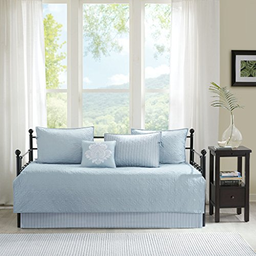 Madison Park Quebec Daybed Size Quilt Bedding Set - Blue, Damask - 6 Piece Bedding Quilt Coverlets - Ultra Soft Microfiber Bed Quilts Quilted Coverlet