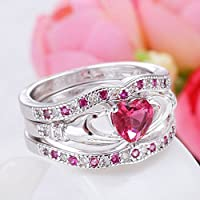 Thanyaluk 3PCs Women 925 Silver Ruby Celtic Irish Claddagh Ring Set Wedding Engagement (7)