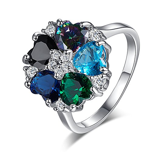 Veunora 925 Sterling Silver Created Multi-Gemstone Filled Heart Flower Ring for Women Size ()