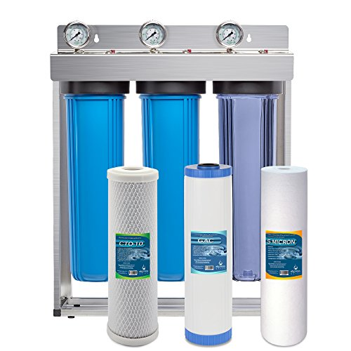 Express Water Whole House Water Filter System GAC Carbon Sediment 3 Stage Filtration 4.5' x 20' Inch
