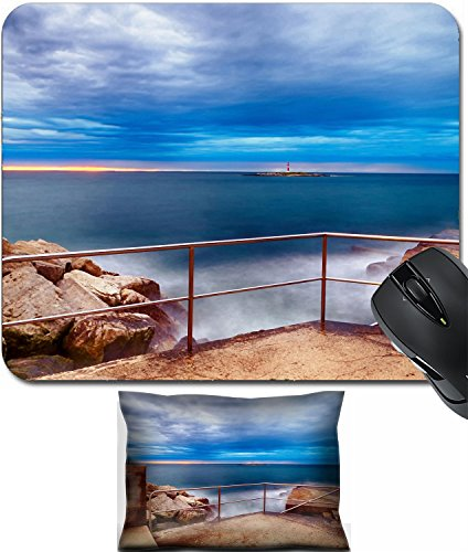 MSD Mouse Wrist Rest and Small Mousepad Set, 2pc Wrist Support design 35269337 Stain Resistance Kit Kitchen Table Top Desk C Sunset on breakwater with stairs on the Mediterranean sea with red steel lo (Mediterranean Set Table)