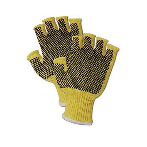 Magid Glove & Safety 93PR-KVNF-RB Magid Cut Master 93PRKVNFRB Medium Weight Kevlar Fingerless Dotted Gloves - Cut Level 3 Men's (Fits Large) Yellow Men's (Fits Large) (Pack of 12) [並行輸入品]  B07J5KGX8F