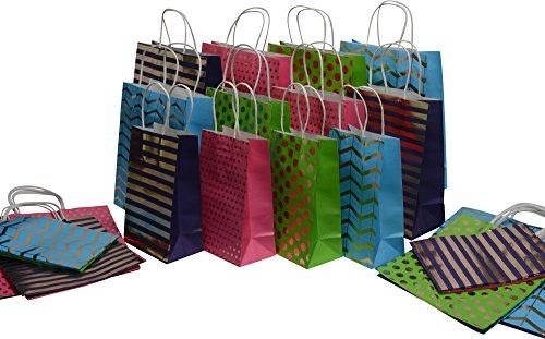 Kraft King Gift Bag Assortment - bulk set of 28 bags, small, medium, large, colors: gold designs, blue, green, purple and pink