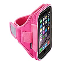 Sporteer Velocity V1xl Sport Armband for iPhone 7/iPhone 6S w/ Otterbox Case, Samsung Galaxy S8, Galaxy S7, Galaxy S7 Edge, S6, Google Pixel, LG G6, G5, Nexus 5X, Moto G, and Many More - Strap Size Small/Medium - Pink