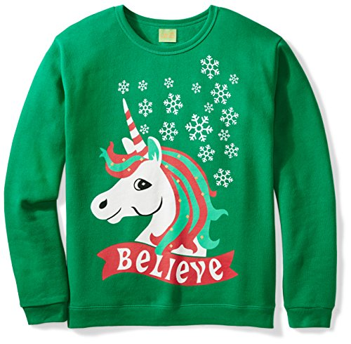 Ugly Fair Isle Unisex Fleece Believe Unicorn Crewneck Christmas Sweater Medium Green Believe Sweatshirt
