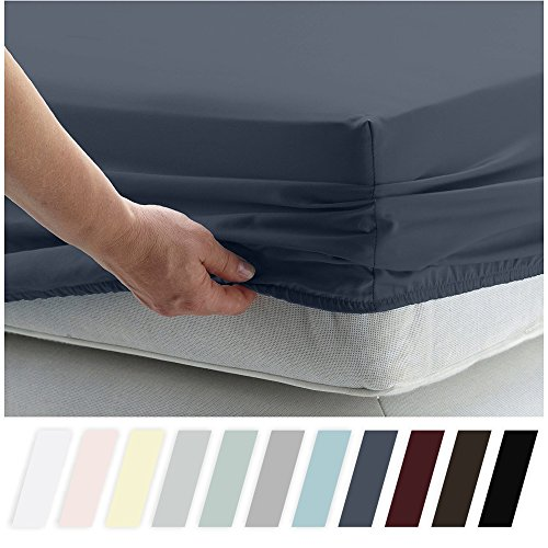 Price comparison product image California Design Den 400 Thread Count 100% Cotton 1 Fitted Sheet Only, Indigo Batik California King Fitted Sheet, Long - Staple Combed Pure Natural Cotton Sheet, Soft & Silky Sateen Weave
