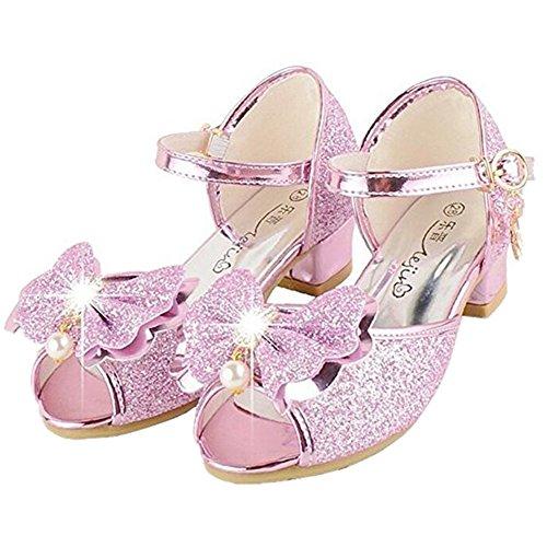 Bumud Kid's Fashion Little Girl's Glitter Pretty Party Dress Pumps Sandals (13 M US Little Kid, Pink) ()