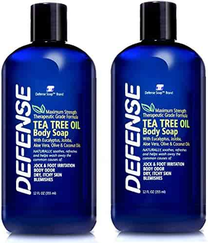 Defense Soap Body Wash Shower Gel 12 Oz (Pack of 2) - Natural Tea Tree Oil