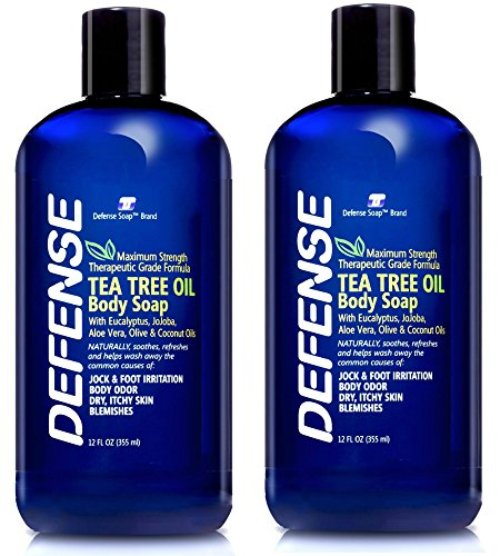 Defense Soap Body Wash Shower Gel 12 Oz (Pack of 2) - Natural Tea Tree Oil ()