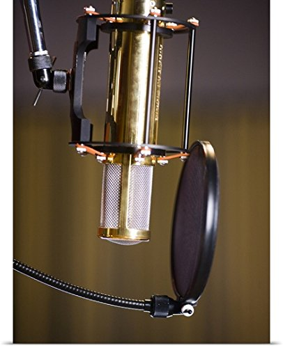 Great Big Canvas Poster Print entitled Microphone in a recording studio