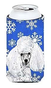Color blanco juguete de caniche invierno copos de nieve alto Boy Koozie Hugger SC9773TBC