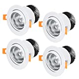 uxcell 4 Pcs 138mm Dia. 20mm Luminous COB Downlight Housing Recessed Ceiling Light Spotlight Shell