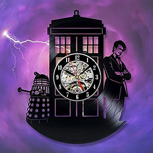 [Doctor Who Vinyl Wall Clock Art Gift Room Modern Home Record Vintage Decoration] (Spirit Walker Costume)