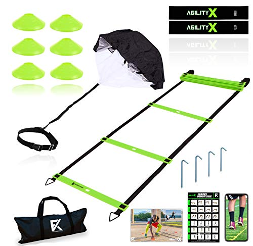 Fitness Kings 20FT Agility Ladder Speed and Agility Training Set with Running Parachute & Loop Resistance Bands + 6 Agility Cones Hurdles + Workout Program Fitness Guide & Videos