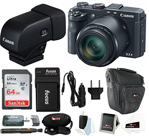 Canon PowerShot G3 X Digital Camera w/Electronic Viewfinder Bundle (Cameras Digital With View Finder)