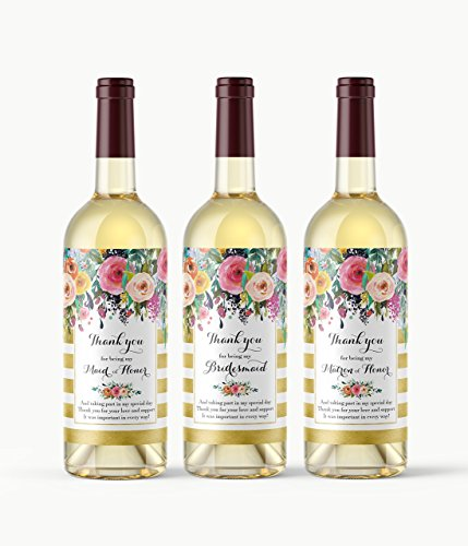 Personalized Wedding Label Dress - Set of 8 - Bridal Party Thank You Gift Idea - Bridesmaid, Maid of Honor, Matron of Honor Thank You Wine Labels - Bridal Party Thank You Card Alternative, Waterproof Wedding Labels, Gold, A103-THANK-8