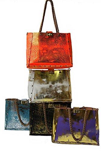 Hivebag Gina, Borsa Firmata, Turchese-argento, Look Coccodrillo, Vera Pelle, Disegnata Da Hob Bangkok
