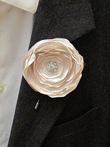 Champagne Boutonniere, Fabric Flower Wedding Prom Shabby Chic Buttonhole, Beige Nude Tan Groom Groomsman Vintage-Style Beige Keepsake Lapel Pin