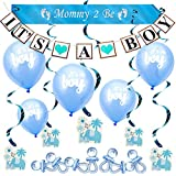 ARTIT Baby Shower Boy Blue Decorations Set Party Decor Bundle Supplies Kit with the Hottest Favors - It's a Boy Theme Banner Balloons Mommy Sash Elephant Cards Foil Swirls Large Acrylic Gift Pacifiers