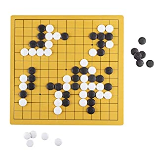 Hey! Play! Go Board Game Set - Beginner's Two Player Strategy Game with Reversible Board & Melaminepiece for Adults & Children