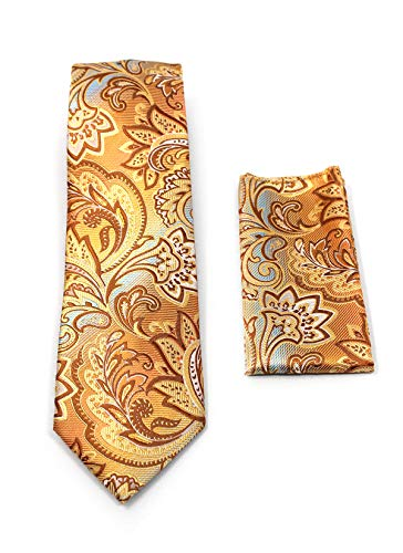 Copper Paisley (C. ALLEN Paisley Tie Handkerchief Woven Classic Men's Necktie & Pocket Square Set (Copper))