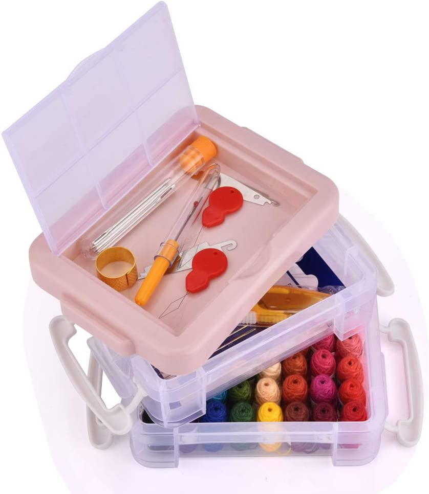 Colourful Embroidery Threads Set Embroidery Floss with DMC Number Friendship Bracelets Cross-Stitch Embroidery Set with Organizer Storage Box for Embroidery Embroidery Threads