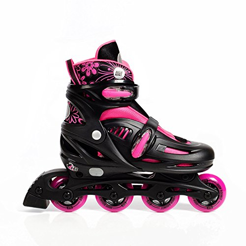 High Bounce Adjustable Inline Skate (Pink, X-Large (9-12) ABEC - Crystals Glory 12