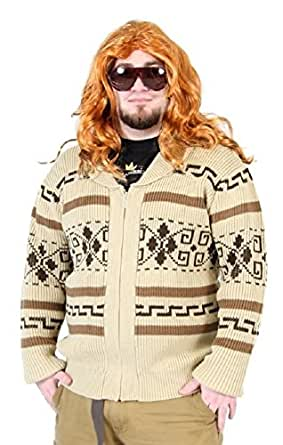 The Big Lebowski Jeffrey The Dude Zip Up Costume Cardigan Sweater (Adult Large)