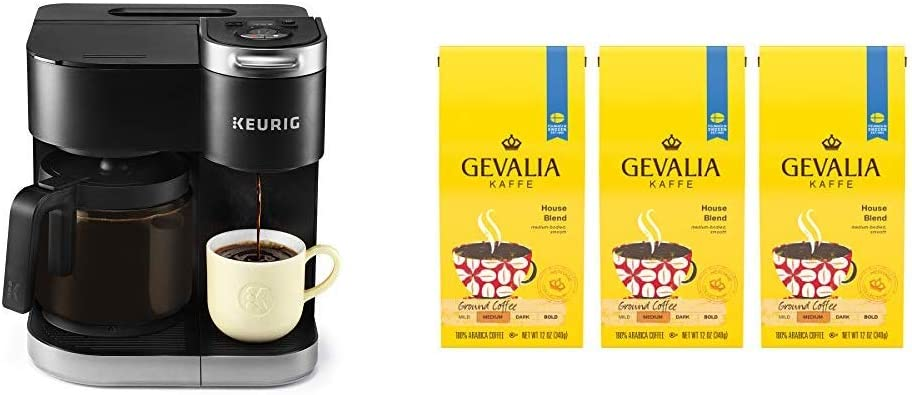 Keurig K-Duo Coffee Maker, Single Serve K-Cup Pod and 12 Cup Carafe Brewer, with Gevalia House Blend Coffee,12 oz Bagged, 3 Count