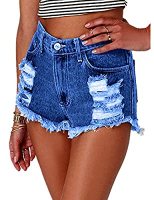 Haola Women's Fashion Summer Juniors High Rise Frayed Denim Hole Shorts