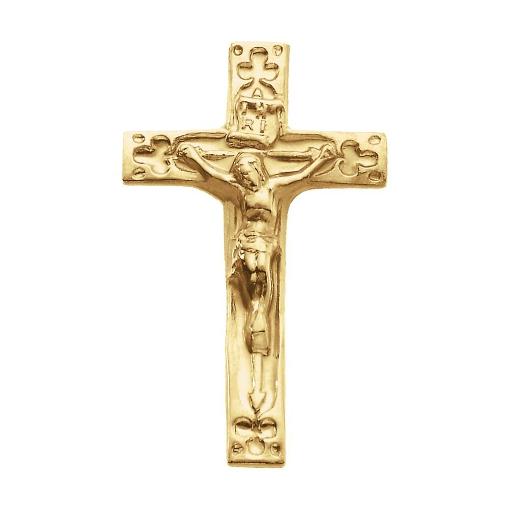 Jewels By Lux 14K Yellow Gold 20.00X12.00 mm Polished Crucifix Lapel Pin