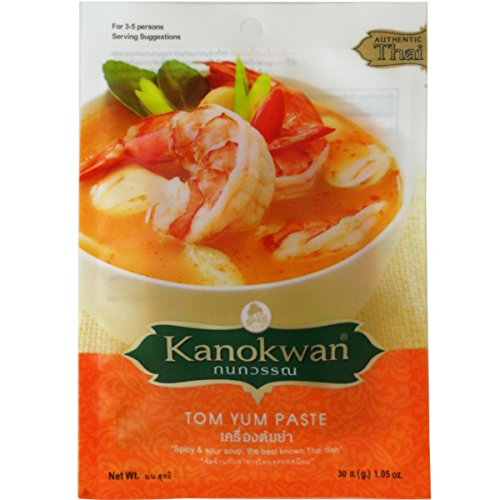Tom Yum Paste Thai Authentic New Herbal Spicy & Sour Soup Net Wt 30 G (1.05 Oz.) Kanokwan Brand X 3 Bags