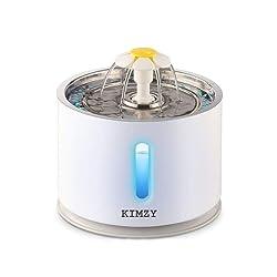 KIMZY Fontaine à Eau pour Chats et Chiens 2.4 L. Plateau en Acier Inoxydable hygiénique. LED Lumineuse et Fente de Niveau d'eau, Distributeur Eau pour Chat avec Filtre Charbon Actif.